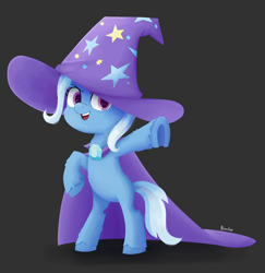Size: 1800x1850 | Tagged: safe, artist:biocrine, trixie, pony, unicorn, arm fluff, bipedal, butt fluff, cape, clothes, cute, diatrixes, female, filly, filly trixie, hat, leg fluff, open mouth, simple background, solo, stray strand, trixie's cape, trixie's hat, tummy fluff, younger