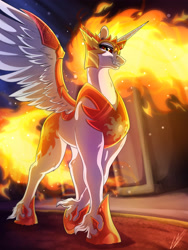 Size: 3000x4000 | Tagged: safe, artist:lupiarts, daybreaker, alicorn, pony, armor, badass, burning, castle, castle of the royal pony sisters, commission, digital art, fangs, female, high res, leg fluff, mane of fire, mare, solo, unshorn fetlocks, villainess