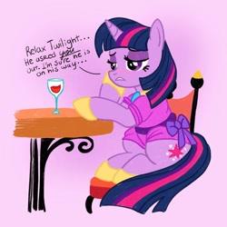 Size: 1080x1080 | Tagged: safe, artist:mediocremare, twilight sparkle, pony, unicorn, alcohol, chair, cup, eyelashes, female, hoof shoes, mare, sad, sitting, solo, talking, unicorn twilight, wine