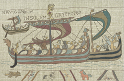 Size: 597x391   Tagged: safe, artist:malte279, griffon, tails of equestria, bayeux tapestry, longship, pen and paper rpg, tapestry
