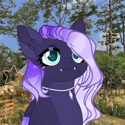 Size: 1080x1080 | Tagged: safe, artist:iceberggg.pl, oc, oc only, pegasus, pony, bust, eyelashes, female, jewelry, mare, necklace, outdoors, pegasus oc, smiling, solo, tree, two toned wings, wings