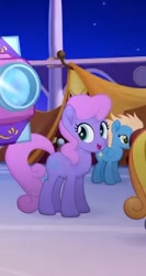 Size: 367x691 | Tagged: safe, screencap, golden skies, lavender laurel, earth pony, pegasus, pony, my little pony: the movie, background pony, cropped, female, happy, mare