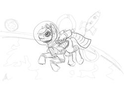 Size: 1000x707   Tagged: safe, artist:solex, oc, oc only, oc:jetstream, oc:solex, pegasus, pony, astronaut, grayscale, helmet, male, monochrome, sketch, smiling, solo, space, spacesuit, stallion, wonderbolts
