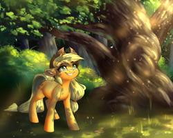 Size: 5000x4000   Tagged: safe, artist:faline-art, applejack, earth pony, pony, cowboy hat, cute, dappled sunlight, female, forest, hat, jackabetes, mare, solo, tree