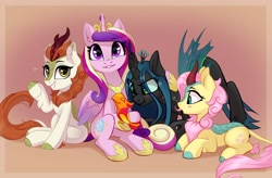 Size: 4096x2691 | Tagged: safe, artist:taneysha, autumn blaze, fluttershy, peewee, princess cadance, queen chrysalis, alicorn, changeling, kirin, phoenix, pony, :t, awwtumn blaze, blush sticker, blushing, commission, cute, cutealis, cutedance, cuteness overload, female, heart eyes, high res, hoof hold, hug, jealous, kirin fluttershy, kirin-ified, kirinbetes, kirinshy, looking at someone, looking at you, lying down, mare, open mouth, phoenix chick, prone, scrunchy face, shyabetes, simple background, sitting, smiling, species swap, stray strand, waving at you, wingding eyes, wings