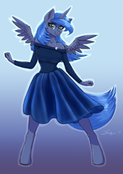 Size: 2480x3508 | Tagged: safe, artist:dandy, princess luna, alicorn, anthro, unguligrade anthro, blushing, breasts, clothes, cute, dancing, dress, female, hooves, horn, jewelry, mare, pendant, s1 luna, shirt, simple background, skirt, smiling, solo, wings