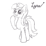 Size: 1200x1200 | Tagged: safe, artist:dafiltafish, lyra heartstrings, pony, unicorn, black and white, grayscale, happy, monochrome, simple background, sketch, solo, text, white background