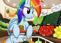 Size: 1024x724 | Tagged: safe, artist:neoshrek, rainbow dash, pegasus, pony, belly button, bipedal, bipedal leaning, broccoli, carrot, celery, chest fluff, cute, dashabetes, eggplant, female, food, grocery store, herbivore, leaning, lemon, potato, shopping, shopping cart, solo, tomato, vegetables