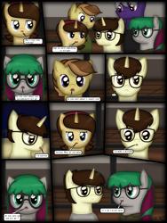 Size: 1750x2333 | Tagged: safe, artist:99999999000, oc, oc only, oc:cwe, oc:firearm king, oc:li anna, oc:mar baolin, oc:zhang cathy, earth pony, pegasus, pony, unicorn, comic:new guy, comic, female, glasses, male