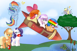 Size: 1280x856   Tagged: safe, artist:therainbowtroll, apple bloom, applejack, derpy hooves, rainbow dash, rarity, scootaloo, sweetie belle, earth pony, frog, pegasus, pony, unicorn, adorabloom, cute, cutealoo, cutie mark crusaders, diasweetes, fire extinguisher, first aid kit, helmet, lilypad, rocket, silly, silly pony, stunt, this will end in death, this will end in tears, this will end in tears and/or death, this will end in tears and/or death and/or covered in tree sap, tree, water