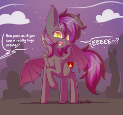 Size: 2048x1920 | Tagged: safe, alternate version, artist:dsp2003, oc, oc only, oc:star hound, bat pony, pony, bat pony oc, bat wings, cloud, comic, commission, cute, cute little fangs, eeee, fangs, female, looking at you, mare, offscreen character, open mouth, signature, single panel, speech bubble, stars, wings