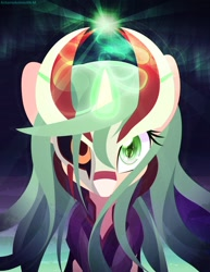 Size: 2500x3235 | Tagged: safe, artist:an-m, oc, oc only, oc:tezla, pony, unicorn, bust, glowing horn, horn, looking at you, portrait, solo
