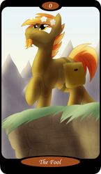 Size: 1500x2591   Tagged: safe, artist:sixes&sevens, part of a set, button mash, earth pony, pony, bag, cliff, eye clipping through hair, facial hair, floral head wreath, flower, goatee, grass, looking up, major arcana, male, mountain, mountain range, older, older button mash, one hoof raised, outdoors, raised hoof, saddle bag, smiling, solo, stallion, tarot, tarot card, the fool, this will end in pain, walking