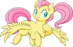 Size: 2084x1343 | Tagged: safe, artist:wownamesarehard, derpibooru exclusive, fluttershy, alternate hairstyle, chest fluff, ponytail, simple background, solo, transparent background