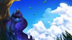 Size: 2560x1440   Tagged: safe, artist:anticular, princess luna, alicorn, pony, cloud, female, mare, sky, solo, tree