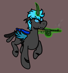 Size: 756x803   Tagged: safe, artist:un simple tio, oc, oc only, oc:loshad, changeling, hybrid, pegasus, angry, black fur, blue eyes, blue wings, brown background, changeling oc, compound eyes, fangs, gun, gunsmoke, horn, magic, magic aura, male, ppsh-41, scar, scarred, simple background, smoke, solo, submachinegun, weapon, wings