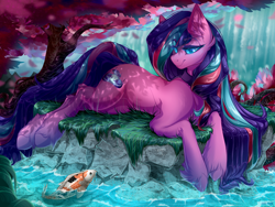 Size: 4700x3525 | Tagged: safe, artist:rico_chan, oc, oc only, oc:serenity pond, carp, earth pony, fish, koi, pony, cherry blossoms, commission, female, flower, flower blossom, long hair, mare, smiling, solo, stone, tree, water, waterfall, ych result