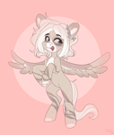 Size: 2728x3232 | Tagged: safe, artist:sugarstar, oc, oc only, pegasus, pony, chest fluff, happy, high res, markings, on hind legs, open mouth, scar, simple background, solo, spread wings, wings