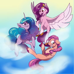 Size: 978x978 | Tagged: safe, artist:mushroomdoggo, izzy moonbow, pipp petals, sunny starscout, earth pony, pegasus, pony, unicorn, g5, cloud, female, float, floppy ears, flying, jewelry, mare, open mouth, sky, spread wings, that was fast, tiara, trio, unshorn fetlocks, wings