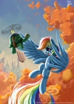 Size: 769x1080 | Tagged: safe, artist:tinybenz, rainbow dash, tank, pegasus, pony, tortoise, backwards cutie mark, book, canterlot, female, flying, goggles, male, mare, propeller, sky, spread wings, tree, wings