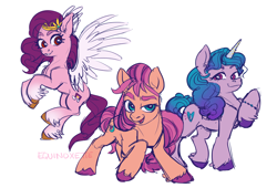 Size: 3464x2358 | Tagged: safe, artist:equinoxette, izzy moonbow, pipp, sunny starscout, earth pony, pegasus, pony, unicorn, eyelashes, female, g5, high res, looking at you, open mouth, raised hoof, simple background, smiling, white background