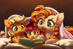 Size: 2840x1900 | Tagged: safe, artist:symbianl, apple bloom, applejack, pear butter, earth pony, pony, adorabloom, bed, blanket, book, cheek fluff, chest fluff, cute, ear fluff, family, female, filly, fluffy, jackabetes, leg fluff, lying down, mother and child, mother and daughter, pearabetes, pillow, prone, reading, siblings, sisters, symbianl is trying to murder us, younger