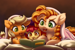 Size: 2840x1900   Tagged: safe, alternate version, artist:symbianl, apple bloom, applejack, pear butter, earth pony, pony, adorabloom, bed, blanket, book, cheek fluff, chest fluff, cute, ear fluff, family, female, filly, jackabetes, leg fluff, lying down, mother and child, mother and daughter, pearabetes, pillow, prone, reading, siblings, sisters, symbianl is trying to murder us, younger