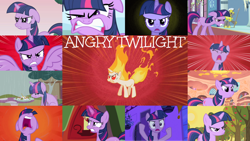 Size: 1280x722 | Tagged: safe, edit, edited screencap, editor:quoterific, screencap, twilight sparkle, alicorn, pony, unicorn, a canterlot wedding, applebuck season, bats!, feeling pinkie keen, once upon a zeppelin, over a barrel, testing testing 1-2-3, the crystal empire, the return of harmony, the ticket master, twilight's kingdom, angry, eyes closed, female, fire, glowing horn, golden oaks library, gritted teeth, horn, magic, male, mare, nose in the air, open mouth, rain, rapidash twilight, royal guard, stallion, teeth, telekinesis, twilight sparkle (alicorn), unicorn twilight