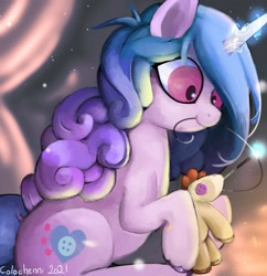Size: 1712x1768 | Tagged: safe, artist:colochenni, izzy, pony, unicorn, spoiler:g5, doll, g5, magic, needle, plushie, telekinesis, toy