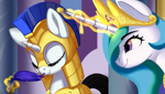 Size: 1006x569 | Tagged: safe, artist:lunebat, edit, princess celestia, alicorn, pony, unicorn, armor, cropped, cute, cutelestia, digital art, duo, eyes closed, feather, female, guardsmare, levitation, magic, mare, nose wrinkle, prank, royal guard, scrunchy face, sillestia, silly, sleeping, sleeping on the job, smiling, telekinesis, tickling, trollestia