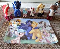 Size: 1024x833   Tagged: safe, artist:tokokami, cozy glow, oc, oc:connie bloom, oc:vanilla cream, oc:wingblossom, oc:xeto, pegasus, pony, clothes, irl, photo, plushie, socks, striped socks