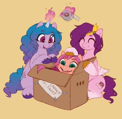 Size: 2210x2169 | Tagged: safe, artist:orchidpony, izzy moonbow, pipp, sunny starscout, earth pony, pegasus, pony, unicorn, box, cardboard box, g5, pony in a box, simple background