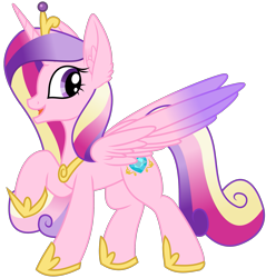 Size: 1983x2076 | Tagged: safe, artist:byteslice, artist:litrojia, princess cadance, alicorn, pony, .svg available, collaboration, crown, ear fluff, female, jewelry, looking back, mare, raised hoof, regalia, simple background, solo, spread wings, standing, svg, transparent background, vector, wings