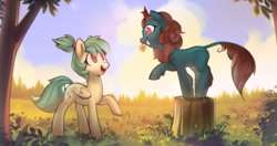 Size: 2852x1503 | Tagged: safe, artist:mirroredsea, oc, oc only, kirin, pegasus, pony, flower, flower in mouth, grin, looking at each other, mouth hold, open mouth, raised hoof, smiling, tree stump