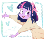 Size: 1315x1148 | Tagged: safe, artist:nendo, twilight sparkle, equestria girls, alternate hairstyle, cute, hairband, heart, open mouth, short hair, solo, twiabetes