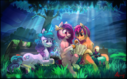 Size: 3817x2378 | Tagged: safe, artist:alumx, izzy moonbow, pipp, sunny starscout, earth pony, pegasus, pony, unicorn, female, g5, grass, high res, that was fast, tree