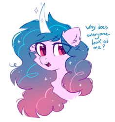 Size: 413x438 | Tagged: safe, artist:mirtash, izzy moonbow, pony, unicorn, alternate hairstyle, bust, chest fluff, dialogue, ear fluff, g5, open mouth, portrait, solo