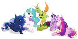 Size: 1280x640 | Tagged: safe, artist:primrosepaper, princess cadance, princess celestia, princess luna, thorax, twilight sparkle, oc, oc:apex, alicorn, changedling, changeling, nymph, fanfic:the king of love bugs, alicorn tetrarchy, apex riding thorax, changelings riding changelings, cute, fanfic, fanfic art, female, giggling, king thorax, male, pony hat, riding, talking, thorabetes, twilight sparkle (alicorn)