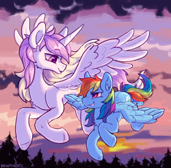 Size: 2165x2120 | Tagged: safe, artist:kotya, princess celestia, rainbow dash, alicorn, pegasus, pony, cloud, flying, forest, horn, looking at each other, smiling, sunset, wings, young celestia