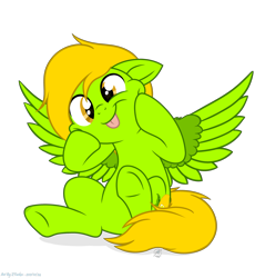Size: 3815x4152 | Tagged: safe, artist:108-zeroforce, artist:starshade, oc, oc only, oc:lemon green, pegasus, base used, commission, cutie mark, female, green, lemon, lemon green, mane, mare, simple background, tongue out, transparent background, ych result, your character here