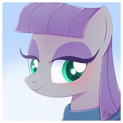 Size: 2000x2000 | Tagged: safe, artist:nnaly, maud pie, earth pony, pony, blushing, bust, cute, eyelashes, female, gradient background, high res, lidded eyes, mare, maudabetes, portrait, purple hair, smiling, solo, three quarter view, when she smiles