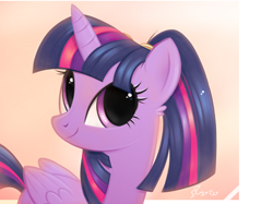 Size: 4390x3280 | Tagged: safe, artist:fladdrarblyg, twilight sparkle, alicorn, pony, cute, ear fluff, female, looking at you, looking up, mare, ponytail, smiling, solo, twiabetes, twilight sparkle (alicorn)