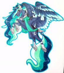 Size: 1920x2206 | Tagged: safe, artist:oneiria-fylakas, princess luna, pony, alternate design, simple background, solo, traditional art, white background