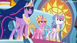 Size: 1920x1080   Tagged: safe, artist:luna.queex, edit, edited screencap, screencap, luster dawn, princess flurry heart, twilight sparkle, alicorn, pony, the ending of the end, the last problem, alicornified, crown, ethereal mane, female, frown, hoof shoes, horn, indoors, jewelry, lustercorn, mare, older, older flurry heart, older twilight, peytral, princess twilight 2.0, race swap, regalia, starry mane, twilight sparkle (alicorn), wings
