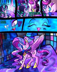 Size: 2400x3000   Tagged: safe, artist:keytee-chan, applejack, fluttershy, pinkie pie, rainbow dash, rarity, starlight glimmer, twilight sparkle, oc, oc:princess glimmering ball, oc:princess supreme ball, unicorn, comic:the great big fusion 1 remake, alicon, fusion, hair bun, lipstick