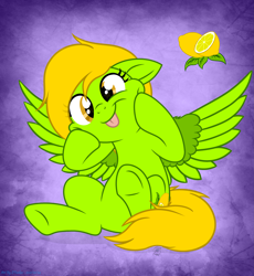 Size: 3815x4152 | Tagged: safe, artist:108-zeroforce, artist:starshade, oc, oc only, oc:lemon green, pegasus, base used, commission, cutie mark, female, food, green, lemon, mane, mare, simple background, tongue out, ych result, your character here