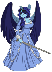Size: 1650x2274   Tagged: safe, artist:shadowblazearts, oc, oc only, alicorn, anthro, alicorn oc, breasts, cleavage, commission, female, horn, simple background, solo, sword, transparent background, weapon, wings