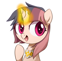Size: 2872x2862   Tagged: safe, artist:ce2438, oc, oc only, oc:little ghost, oc:pure dawn, pony, unicorn, bust, female, glowing horn, horn, simple background, solo, transparent background