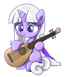 Size: 3107x3484   Tagged: safe, artist:ce2438, oc, oc only, oc:little ghost, pony, unicorn, female, guitar, moorish guitar, musical instrument, simple background, solo, transparent background