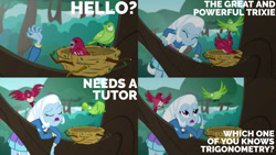 Size: 1280x720 | Tagged: safe, edit, edited screencap, editor:quoterific, screencap, trixie, bird, a little birdie told me, equestria girls, equestria girls series, bird nest, collage, eyes closed, female, nest, open mouth, solo, teeth, tree, tree branch